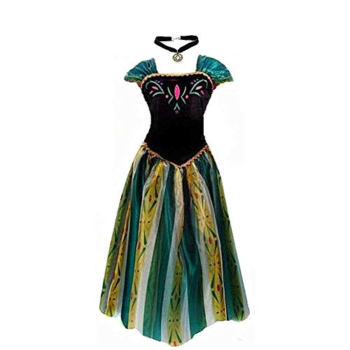 Big-On-Sale Princess Adult Women Anna Elsa Coronation Dress Costume Cosplay (M Size for US 6-8) Green