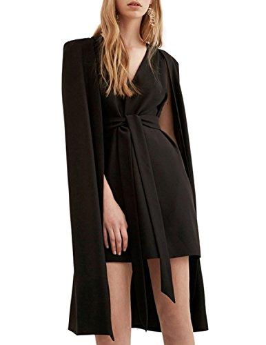 hodoyi Womens V Neck Sleeveless Cape Mini Dress With Self-Tie(XXL,Black)]()