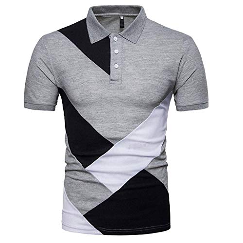 OrchidAmor Fashion Personality Men's Casual Comfy Slim Short Sleeve Patchwork T Shirt Top Blouse 2019 Summer Gray (Lsu Watch And Wallet)