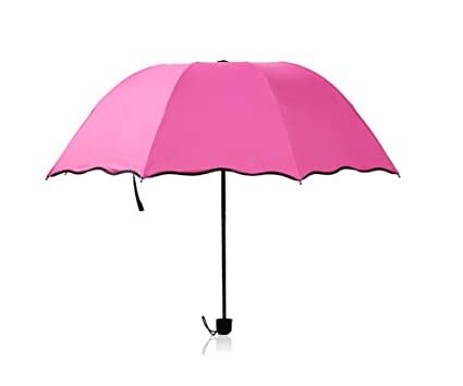 Kentop Mujer Plegable Parasol paraguas lluvia paraguas vinilo resistente al viento, rojo, 90×