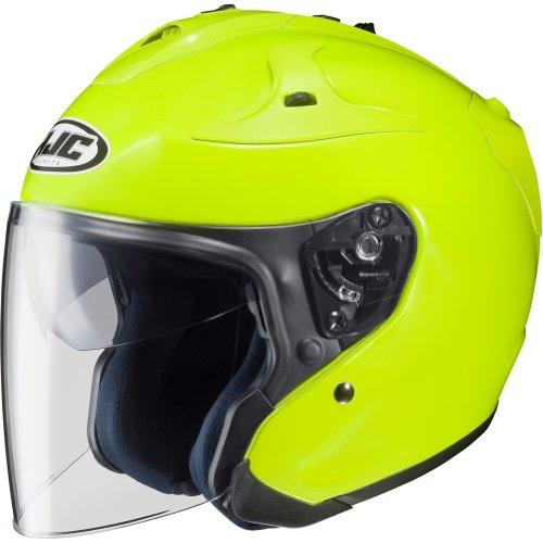 HJC Metallic FG-JET 3/4 Open Face Motorcycle Helmet - Hi-Visibilty Yellow / X-Large