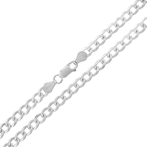 (Authentic Solid Sterling Silver Cuban Curb Link Diamond-Cut One-Sided Pave .925 ITProLux Necklace or Bracelet Chains 2MM - 10.5MM, 16