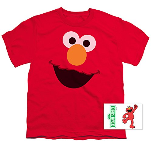 Youth Sesame Street Elmo Face T Shirt for Boys (Large)