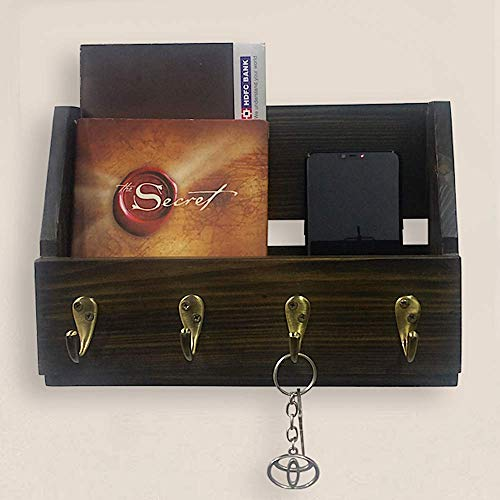 A10SHOP Omega W2 Solid Wood Wall Mounted Key Holder, Coat Rack, Magazine Holder & Mail Organizer with 4 Hooks (Antique ()