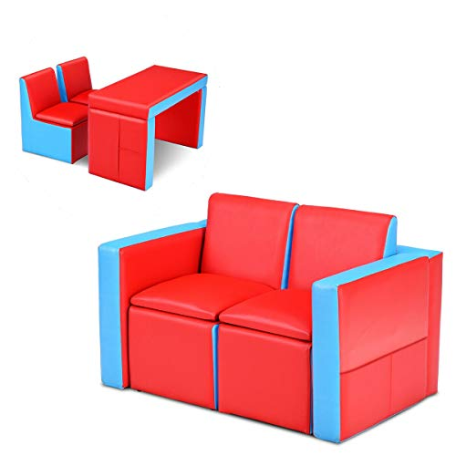 Costzon Kids Sofa, 2 in 1 Double Sofa Convert to Table and Two Chairs, Toddler Lounge with Wooden Frame and PVC Surface…