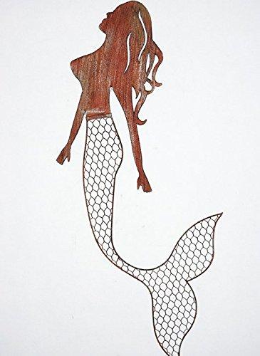 Rustic Metal Swimming Mermaid Home Wall Art