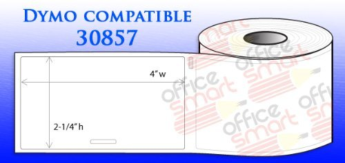 4 Rolls 2-1/4'' x 4'' Name Badge w/Adhesive Labels Dymo 30857 Compatible for DYMO LabelWriters 330 400 450 Twin Turbo Duo 4XL Printer by OfficeSmartLabels (Image #1)