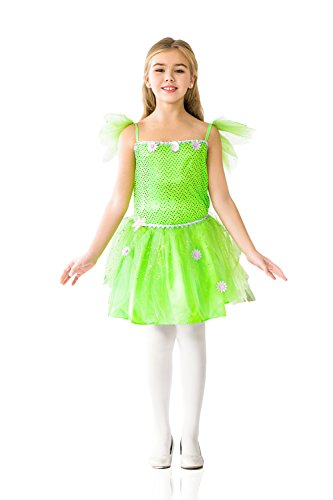 Kids Girls Sparkling Fairy Halloween Costume Magic Forest Elf Dress Up & Role Play (6-8 years, green