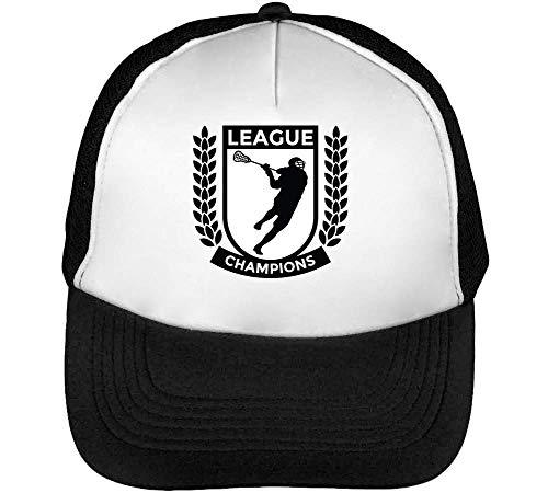 Hombre Snapback Champions Negro Lacrosse Badge Gorras Sport League Blanco Beisbol BxUYXPw