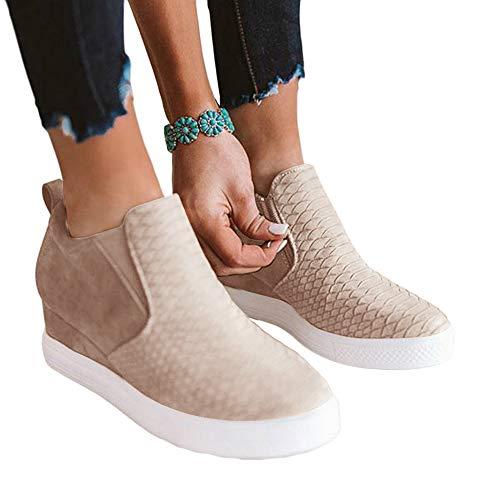 (Ermonn Womens Wedge Sneakers Fashion High Top Side Zipper Platform Booties Flat Shoes (7 M US,)