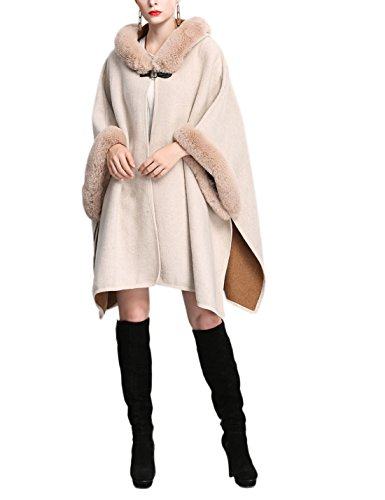 Gihuo Women's Luxury Batwing Sleeve Faux Fur Hooded Cloak Poncho Sweater Cape (One Size, Beige) (Trim Coat Fur Wool)