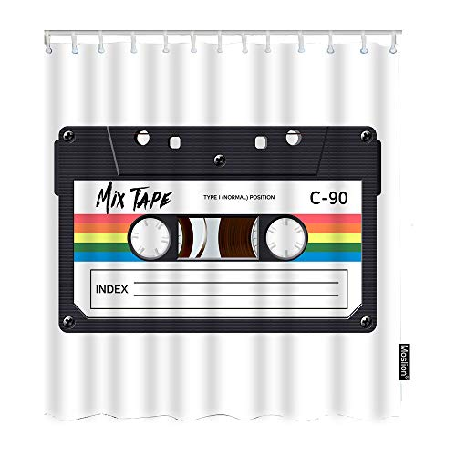 Moslion Music Bathroom Curtains Vintage Cassette 80S Revival Mix Tape Disco Dance Hipster Shower Curtains Home Waterproof Extra Long Polyester Fabric Shower Curtain with Hooks 72x72 Inch