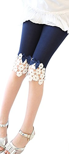 Fairy Wings Kids Girls Lace Flowers Trimmed Mini Legging Pants for Summmer, Navy 6