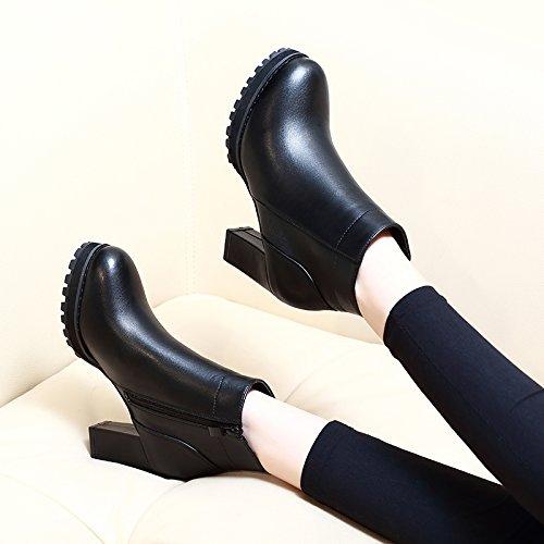 KHSKX-Korean Top Negro De Tacón Zapatos De Mujer En Invierno Con Martin Botas Plataforma Tacon Grueso Resistente Al Agua Fondo Grueso Corto Botas Las Mujeres black