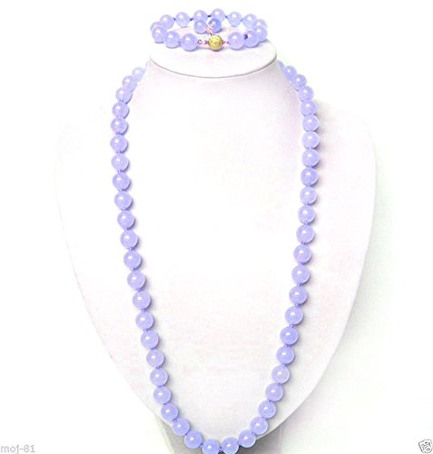 Fashion 10mm Natural Lavender Jade Round Beads Necklace Bracelet Earrings Set