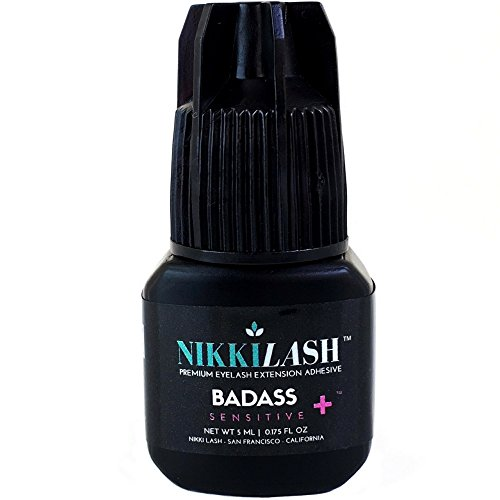 NIKKILASH BADASS SENSITIVE+ Eyelash Extension Glue | Latex-free For Extreme Sensitive Allergy Clients - Formulated to Increased Durability and Flexibility - Non-irritating Fume-free and Odorless - 5ML