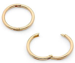 "22ct Gold Plated Solid Sterling Silver 5/16"" (8mm) Hinged Hoop Sleepers Earrings Made in Australia"