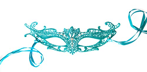 Teal Green/Blue Turquoise Venetian Lace Masquerade Mask for Women. Soft, Flexible, with Rhinestones! Costume Ball, Mardi gras
