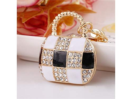 - Wetietir Fashion Crystal Diamond Bag Lobster Buckle Keychain Key Jewelry Fashion Trinket Bag Key Holder Decorations_Black+White Pendant