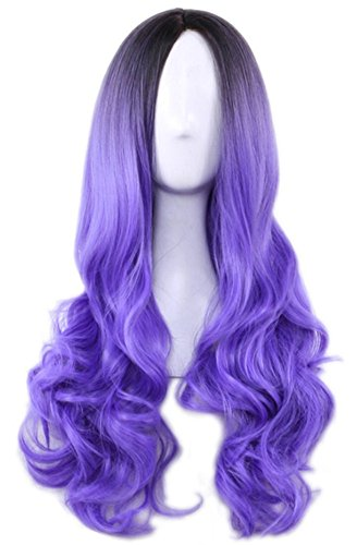 (AneShe Ombre Wig Long Wavy 2 Tone Black and Purple Ombre Wig Dark Roots Heat Resistant Fiber Full Wigs for Women (Black to Purple))