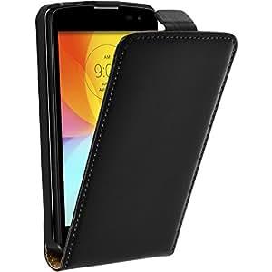 Cubierta de cuero artificial para LG L Fino - Flip-Case negro - Cover PhoneNatic Cubierta + protector de pantalla