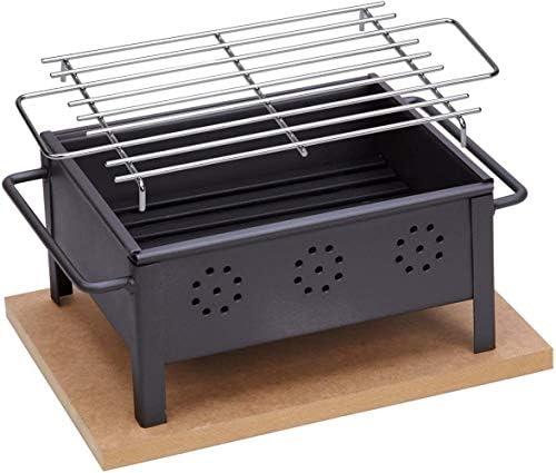 SgualieBarbecue DE Table avecGrilleenAcier Inoxydable 25X20 CM, Noir, 34.5x22x13.5 cm
