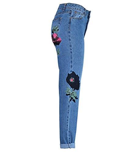 Donna Pantalone Stereoscopico Leisure Dritti Fiori Zhiyuanan Lunga Ricamo Alta Blu Vita Denim Pantaloni Baggy Patchwork Jeans 6qwwdR