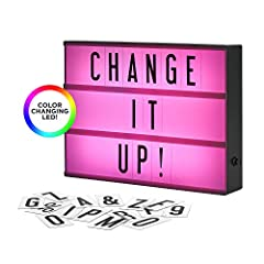 The Original Cinema Lightbox - color changing. Featuring 3 LED power modes: classic white, color-changing, and hold on any solid color to set your room vibe. Simply slide in the letters to make your own quote sign! Includes a letter storage c...