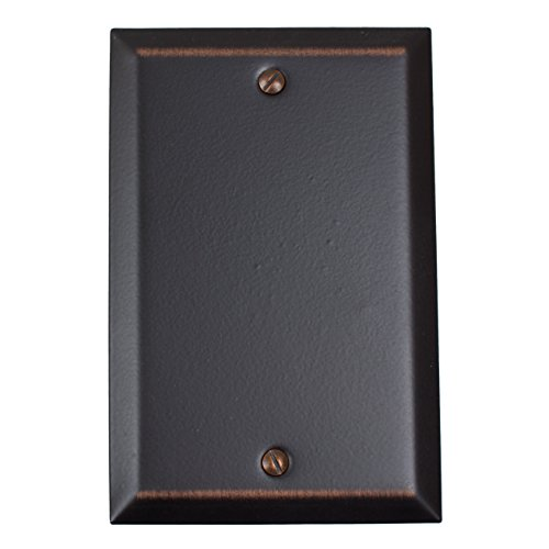 GlideRite Hardware 1-Gang Single Blank Classic Square Beveled Wall Plate Cover (Single Blank, Oil Rubbed Bronze) - Bronze Cover Plate