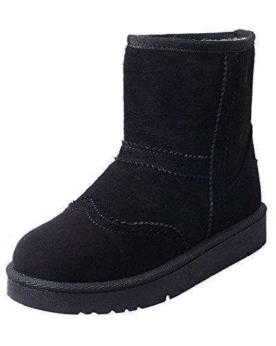Minetom Mujer Invierno Algodón Botas Calentar Botas De Nieve Antideslizante Zapatos Plano Botines Botas Brogue Negro