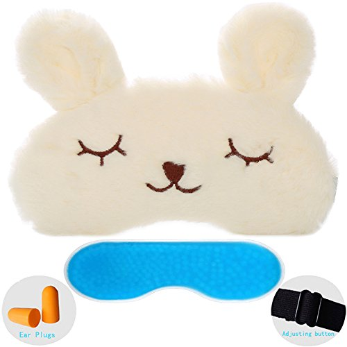 ZHICHEN Silk Eye Mask with Lovely 3D Cute Rabbit Face Soft & Lightweight Sleeping Blindfold for Kids Girls Adult for Yoga Traveling Party [Inclulding Ice Bag, Foam Ear Plugs] (White(Upgraded))
