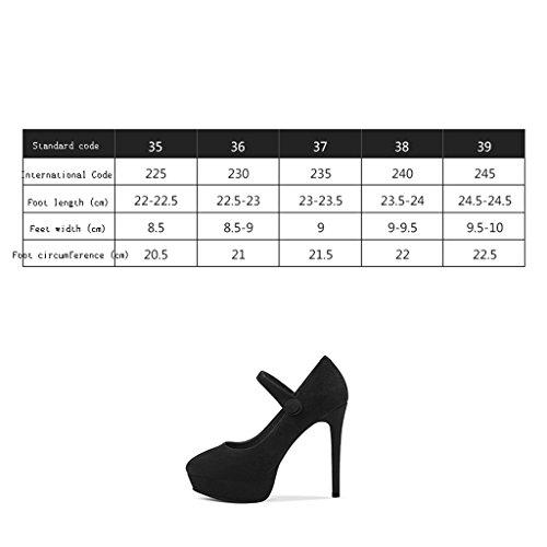 Imperméable Mat Noir L'Eau 12cm Simples Boucle Forme Fine Femmes Ronde Chaussures Talon Talons à Plate Noir Haut Mot Wysm Avec Hauts 7qxwAB1n