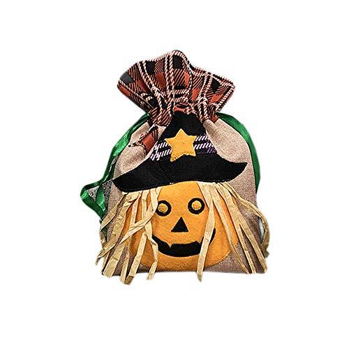Florashop Kids Halloween Trick or Treat Candy Bags Witch/Black Cat/Pumpkin Cartoon Draw String Bags for Kids Halloween Themed Party Gift Favor (Pumpkin) -