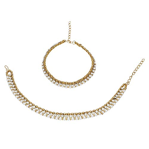(Efulgenz Indian Bollywood Gold Plated Faux Kundan Pearl Wedding Bridal Anklet Pair (2 Piece) Bracelet Payal Foot Jewelry )