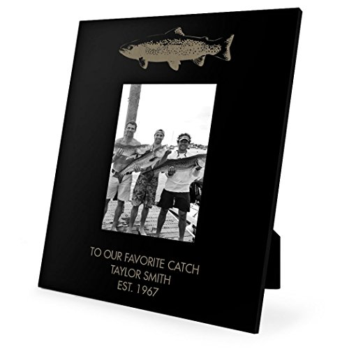 Personalized Top Fish Fly Fishing Frame | Engraved Fly Fishing Picture Frame by ChalkTalk SPORTS | Vertical (Fishing Memories Photo)