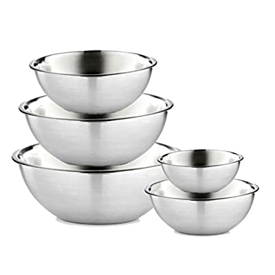 Stainless Steel Mixing Bowls Set, 5 piece set - Polished Mirror Finish - Nesting Bowls - Cooking Supplies - Meal Prep