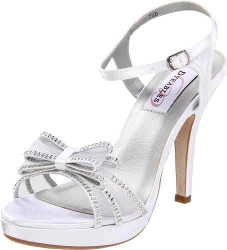 - Dyeables Women's Pippa Platform Sandal,White Satin,9.5 B US
