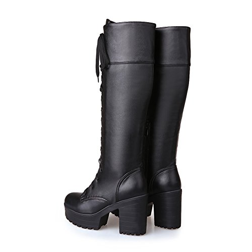 Simple Lace Platform Boots Round Womens Knee Heels Knight Lucksender High Black Chunky Toe High Style Up 5wqzw6X