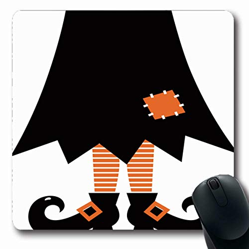 Ahawoso Mousepad Oblong 7.9x9.8 Inches Person Cute Retro Witch White Holidays Shoe Costume Dress Black Boot Design Mouse Pad Non-Slip Rubber for Notebook Laptop PC Computer