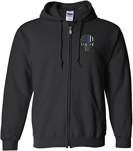 Punisher Blue Line W/ Left Chest Embroidery Full Zip Sweatshirt-18600 (3X-Large) (Embroidered Gildan Sweatshirt)