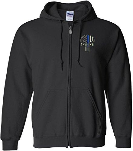 Punisher Blue Line W/ Left Chest Embroidery Full Zip Sweatshirt-18600 (X-Large) (Gildan Embroidered Sweatshirt)