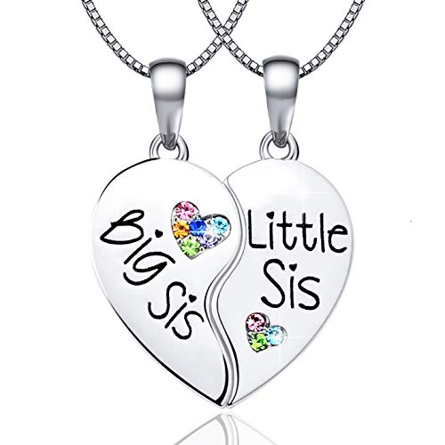 KINGSIN Sisters Necklaces for 2 Big Sis Little Lil Sis Pendant Enhancer Twin Sorority Heart Halves Matching