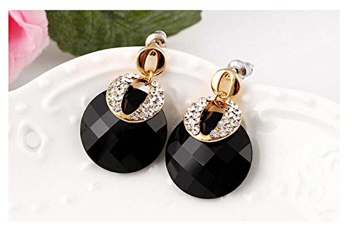 [Luck Wang Lady's The Unique Qualities Of Temperament Minimalist Fashion Gemstone Earrings(Black)] (Make Imperial Guard Costume)