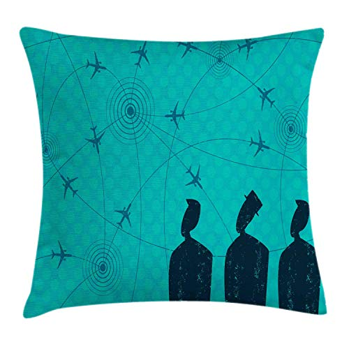 NBTJZT Airport Throw Pillow Cushion Cover, Abstract Creative Man Silhouettes Look Flight Paths,Pillowcase 18X18 Inch, Dark Petrol Blue Petrol Blue Dark Seafoam