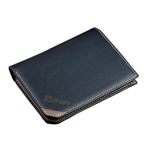Men Wallet, Han Shi Men Fashion Open Coin Purse Short Wallet Card Holders Handbag Purse Flexible Wallet Large Travel Working Purse Pocket (Blue)