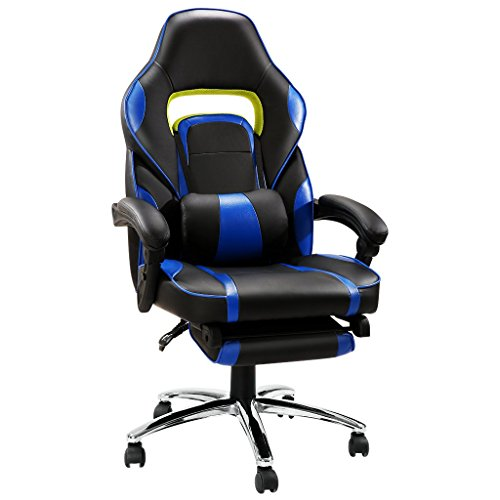 LANGRIA Computer Gaming Chair Faux Leather Racing Style Executive Office Chair Ergonomic High Back Design with Padded Footrest Lumbar Support, Blue Review