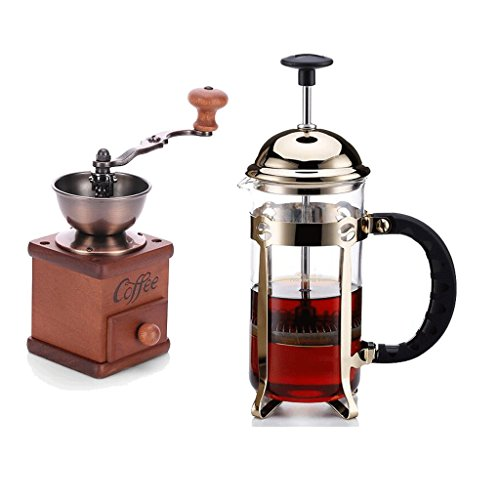 - KAFEIBEI Stainless Steel Coffee Pot Filter Pressure Coffee Pot Heat Resistant Glass 350cc Coffee Pot Grinder Coffee cup (Color : Gold)