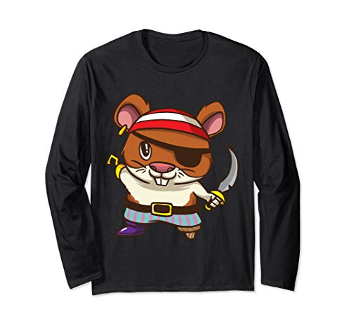 Guinea Pig Pirate Costume (Pirate Hamster Halloween Party Kids Shirt Jolly Roger  Long Sleeve)