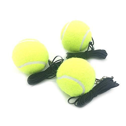 Linkin Sport Tennis Trainer Rebound Baseboard Self Tennis Training Tool Ball Back Training Gear with 2 String Balls (Pro Tennis Balls with String x 3)