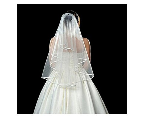 Women Lady Double Ribbon Edge Center Cascade Bridal Wedding Veil with Comb White Wedding Dress Accessories Girl Sweet Decorations
